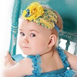 Yellow & Blue Feathered Headband